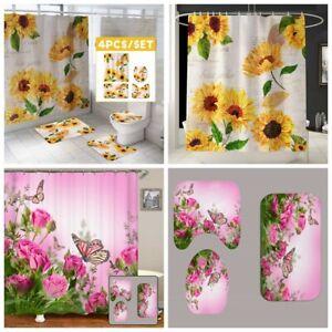 Rose Butterfly Sunflower Shower Curtain Bath Mat Toilet Lid Cover Rug Sets Decor