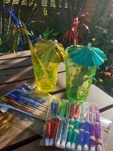 PARTY / CHRISTMAS Drink Decorations,Cocktail Umbrellas & Palm Tree sticks Pk24