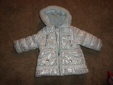 Girls Carters White/Silver Shiny Snowflake Pattern Winter...