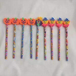 Vintage 90's LISA FRANK HALLOWEEN Pencils Erasers Pumpkin Scarecrow RARE Lot