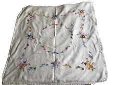 Vintage. Hand Embroidered Irish Linen Tablecloth 40� Square Vgc