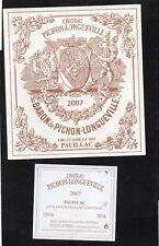 PAUILLAC 2GCC ETIQUETTE + CONTRE CHATEAU PICHON LONGUEVILLE BARON 2007§16/03/18§