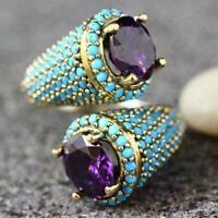 Silver Zircon Rings Bohemia Oval Moonstone Ring Wedding Jewelry V7H9 Gift B7Y7