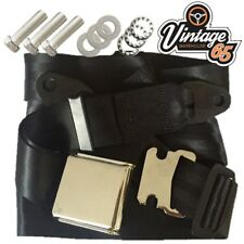 Classic Mini Chrome Buckle 3 Point Adjustable Static Lap Seat Belt Kit Black