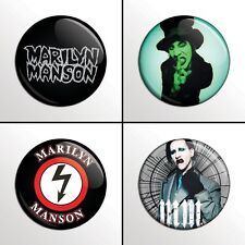 "4-Piece MARILYN MANSON (Set #1 of 4) 1"" Pinback Band Buttons / Pins / Badges Set"