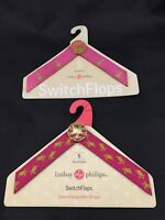 Switch Flops Straps Small 5 6 Pink Sea Turtles Palm Trees LINDSAY PHILLIPS Lot 2