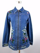 DENIM Co Women's VTG Designer Casual Cotton Jeans Embroidery Jacket sz S BC61