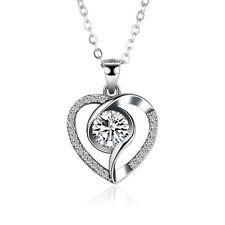 Sterling Silver Cubic Zirconia Heart Choker Necklace