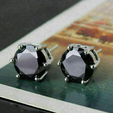 4Ct Round Black Diamond Six Prong Solitaire Stud Earrings 14k White Gold Finish