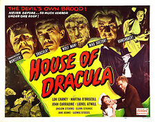 House of Dracula - Lon Chaney Jr - A4 Laminated Mini Movie Poster