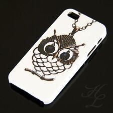 Apple iPhone 5S Hard Case Schutz Hülle Cover Etui Schale Eule Kette Owl Hibou