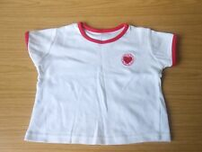 George girls' white 100% cotton T-shirt with red trim, age 3-6 months