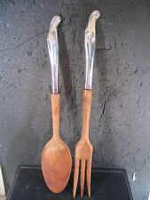 Stieff Sterling Silver Surf 2 PC SALAD SERVING SET Wooden Handles   11""