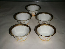 RARE VINTAGE SET OF 5 W LYCETTS DECORATIONS ATLANTA DESSERT BOWLS 1.75 GOLD TRIM