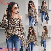 USA Women Leopard Print Long Sleeve Off Shoulder Loose T Shirt Casual Blouse Top