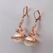 18K Rose Gold Filled Hypo-Allergenic Crystal White Pearl Dangle Earring Z027