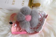 Top quality mink fur cherry flower luxury women bag charm key chain ornament