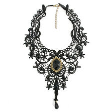 Black Gothic Fashion Lace Choker Necklace Metal Cameo Jewel Steampunk Cosplay