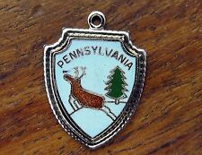 Vintage silver PENNSYLVANIA STATE CHRISTMAS REINDEER TRAVEL SHIELD charm #M