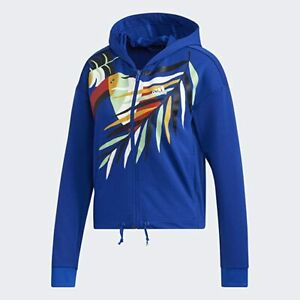 adidas Womens X Farm Rio Hooded Track Top Royal Blue / White GD9017