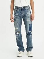 """LEVI'S 501 Japan Made & Crafted Big """"E"""" Rip & Repair w Paint Selvedge Jeans Mens"""