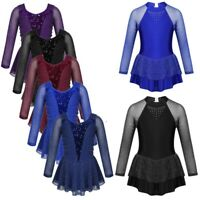 Girl Kid Rhinestones Skating Dress Figure Ice Roller Skating Performance Costume