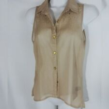 Charlotte Russe Women's Sleeveless Shimmering Beaded Sheer Blouse. Size XS