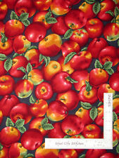 Apple Apples Fruit Toss Red Green Leaves on Blue Cotton Fabric VIP By The Yard