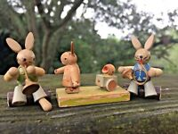 Vintage SET LOT of 3 WOODEN Rabbit Bunny Chick Figurines UNIQUE ONE OF KIND ❤️j8