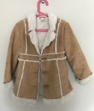 Gymboree Girl Coat Jacket Long Sleeve Faux Leather Fake Fur Sz S (5-6)