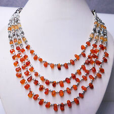 Carnelian Gemstone 925 Sterling Silver Plated Handmade Jewelry Necklace 52 Gm