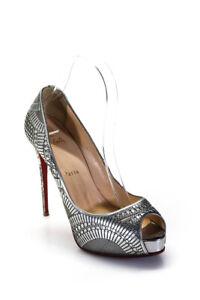 Christian Louboutin Womens Leathers Geometric Peep Toe Pumps Silver Size 8