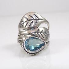 Didae Sterling Silver Blue Topaz Leaf Modernist Wide Ring Size 7 Lhb4