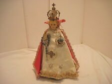 OLD CHALKWARE RELIGIOUS INFANT OF PRAGUE STATUE M.A. METAL CROWN ROBE
