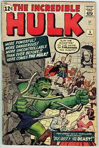 INCREDIBLE HULK  5  VG+/4.5  -  Killer early Hulk cover from 1962!