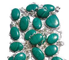 20PCS Wholesale Lot GREEN MALACHITE Gemstone 925 Silver Plated Pendant Jewelry