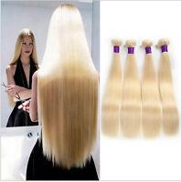 3 Bundles Brazilian Straight Remy Virgin Human Hair Weave Extension # 613 Blonde
