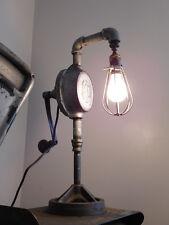 vintage industrial steampunk desk table machine age lamp light custom oil pump