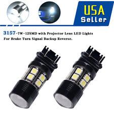 2x 3157 3156 White 12SMD 7W Turn Signal Brake High Power LED Light Bulbs 6000K