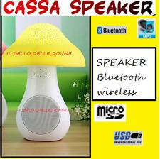 CASSA SPEAKER BLUETOOTH FORMA DI FUNGO WIRELESS PORTATILE LETTORE MP3 RADIO USB