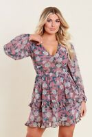 Womens Pink Floral Georgette Long Sleeves Ruffle Detail Mini Skater Dress