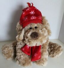 Fashion Bug Light Brown Dog Wearing A Hat And Scarf Stuffed Plush Animal