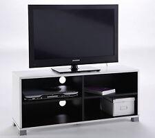 Mesa de TV multimedia blanca y negra 4 estantes, modulo bajo salon comedor 100cm
