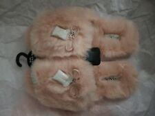 COACH - Luxury Indoor Plush Slippers PINK size UK7/ US9 Open Toe/ Slider (BNWT)