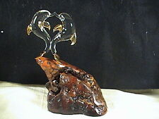 California Glass Crafters Pair Crystal Kissing Porpoise's/Dolphins On Burl