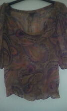 Pure Silk Ted Baker mushroom/Paisley sheer blouse Unique and Sexy!  Sz3.