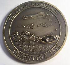 """""""RARE"""" Meteorite Medallion/Coin 45mm """"Campo Del Cielo"""" with Info/Cert Gold Antiq"""