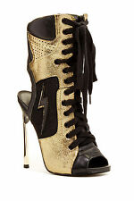 10 Lust For Life Dawn Richard Swag Black Gold Laced Stilettos Boots Heels  $270