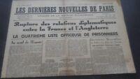 Periodico Los más Reciente Nuevas De París N º 17 Sábado 6 Julio 1940 ABE