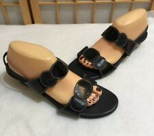 Munro Slingback Sandals Slip On Black Patent Leather Strappy Comfort Shoe 10.5 M